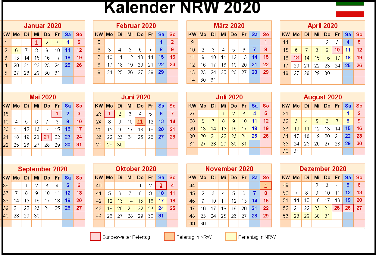 Kalender 2020 Ferien NRW