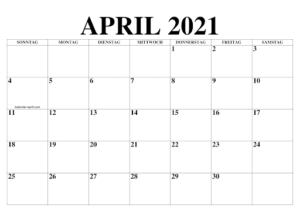 Kalender April 2021 Drucken
