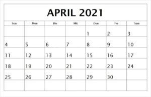 April 2021 Feiertags Kalender