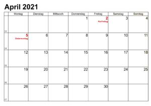 April Kalender 2021