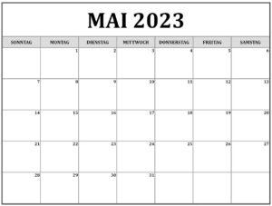 Druckbarer Mai 2023 Kalender