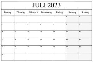 Feiertags Juli 2023 Kalender