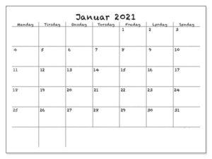 Kalender Januar 2021 Drucken