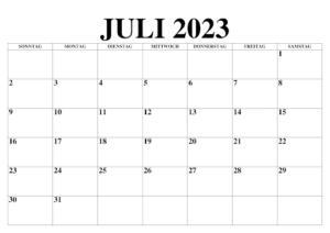 Juli 2023 Kalender