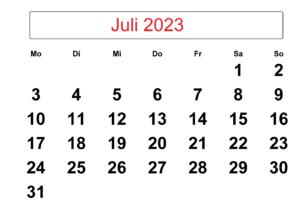 Juli 2023 Kalender Ausdrucken