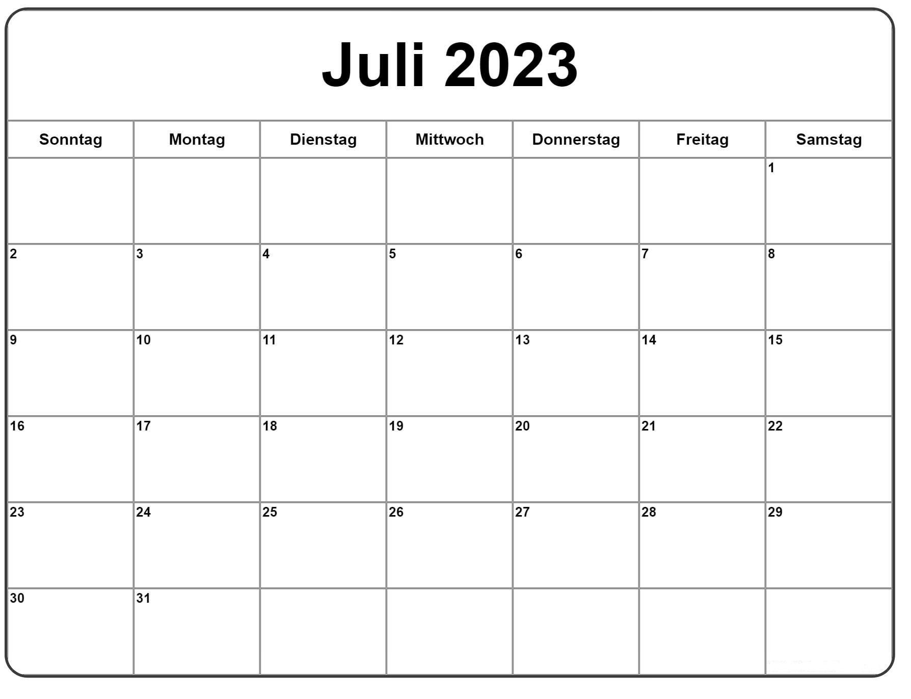 Juli 2023 Kalender Zum Ausdrucken