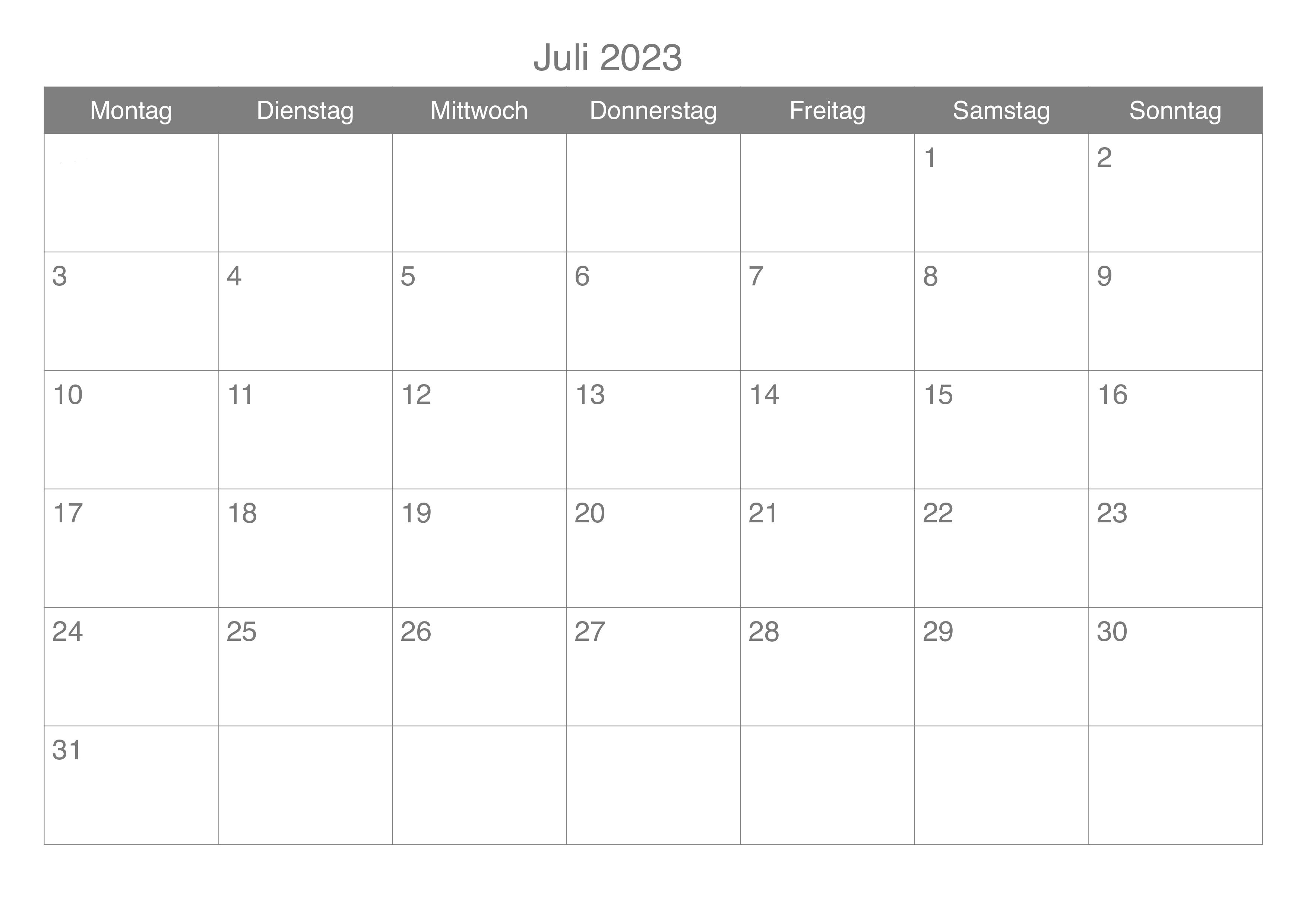 Juli Kalender 2023