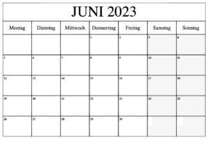 Juni 2023 Druckbarer Kalender