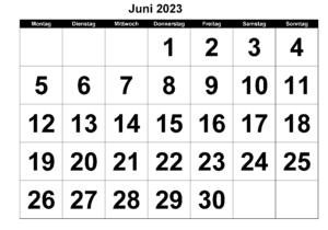 Juni 2023 Kalender Ausdrucken