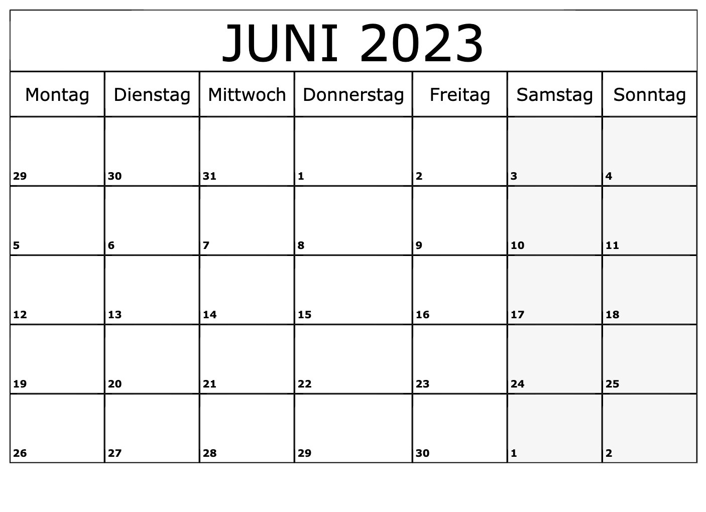 Juni 2023 Kalender PDF