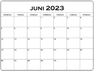 Juni Kalender 2023 Feiertags