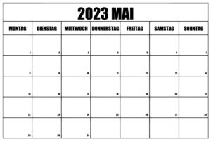 Kalender 2023 Mai Ausdrucken