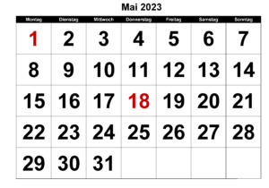 Kalender 2023 Mai Feiertags
