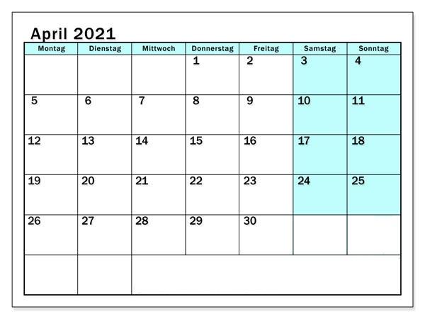 Kalender April 2021 Vorlage