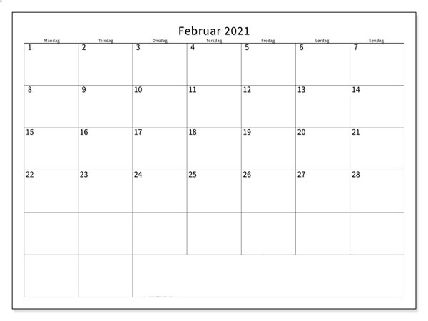 Kalender Februar 2021 Ausdrucken