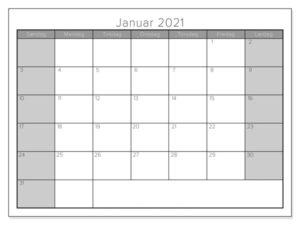Kalender Januar 2021 Ausdrucken