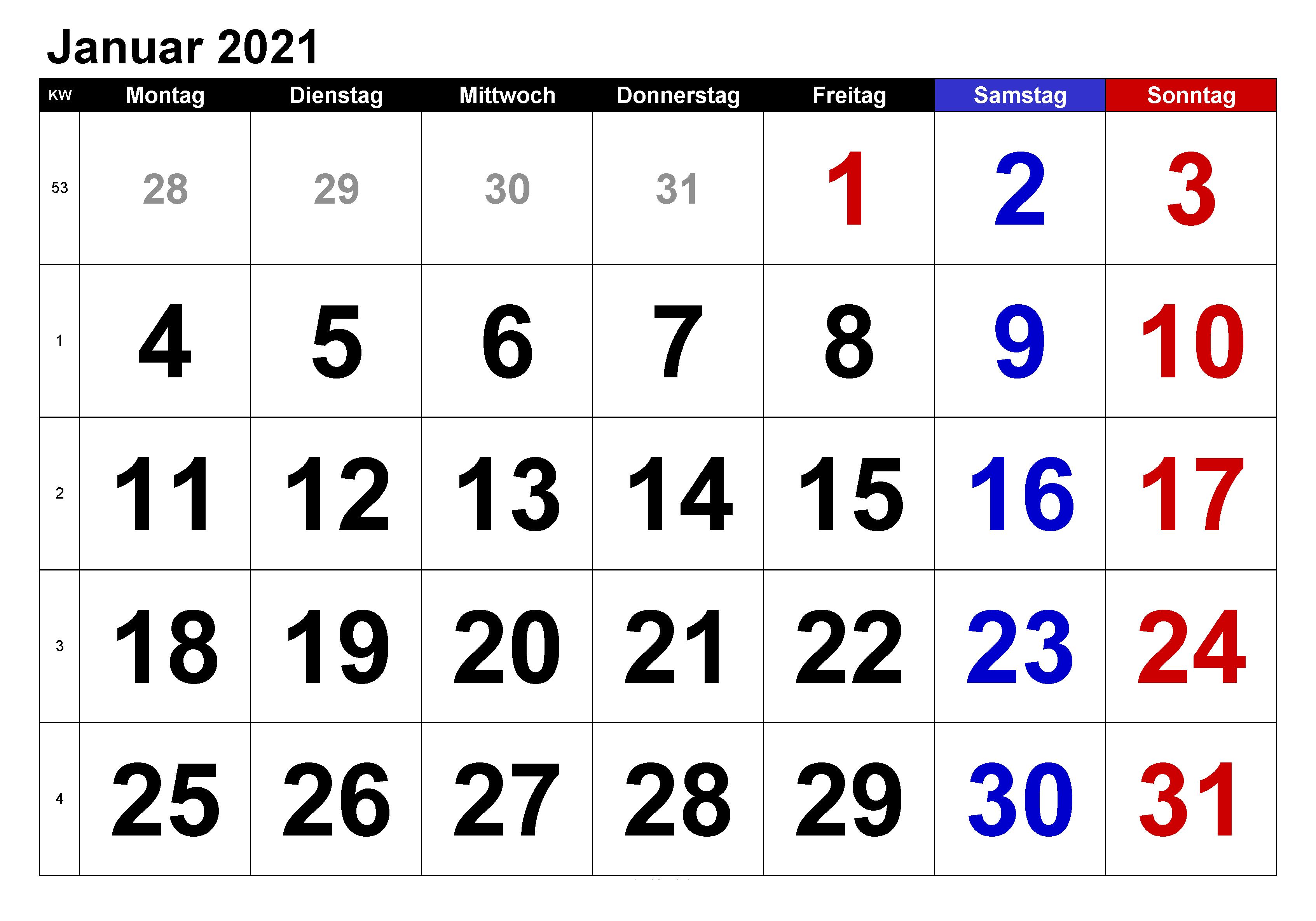 Kalender Januar 2021 Vorlage