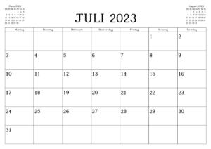 Kalender Juli 2023 Drucken