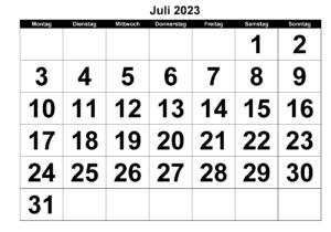 Kalender Juli 2023 Vorlage