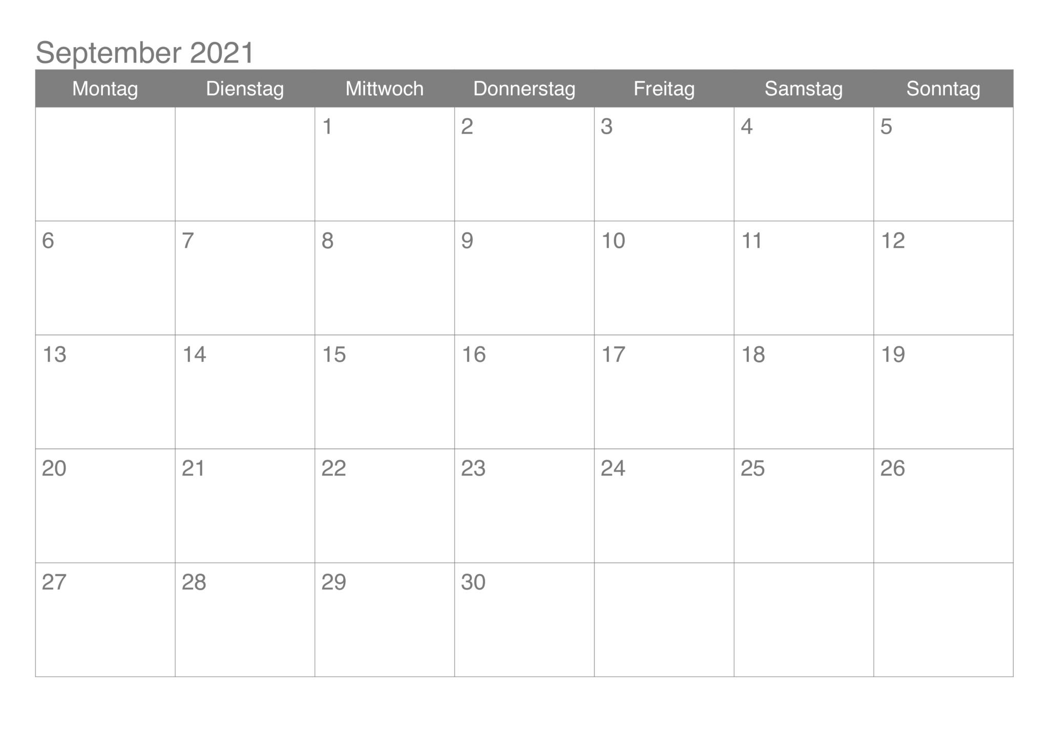 Kalender September 2021 Drucken