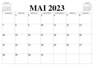 Mai 2023 Kalender Mit Notizen