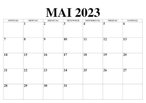 Mai 2023 Kalender