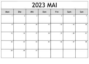 Mai Kalender 2023