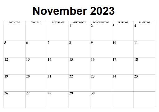 November 2023 Feiertags Kalender