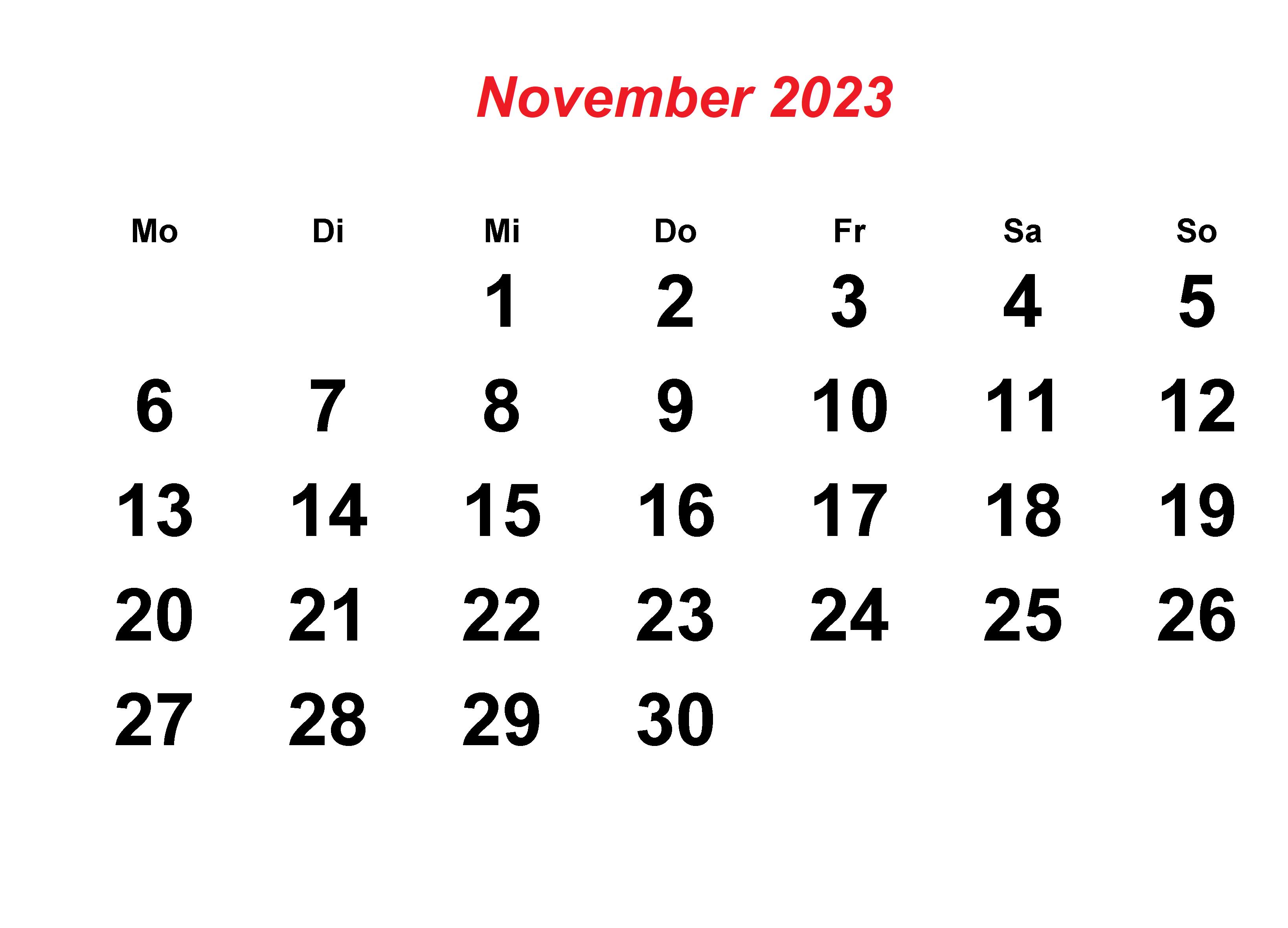 November 2023 Kalender Ausdrucken