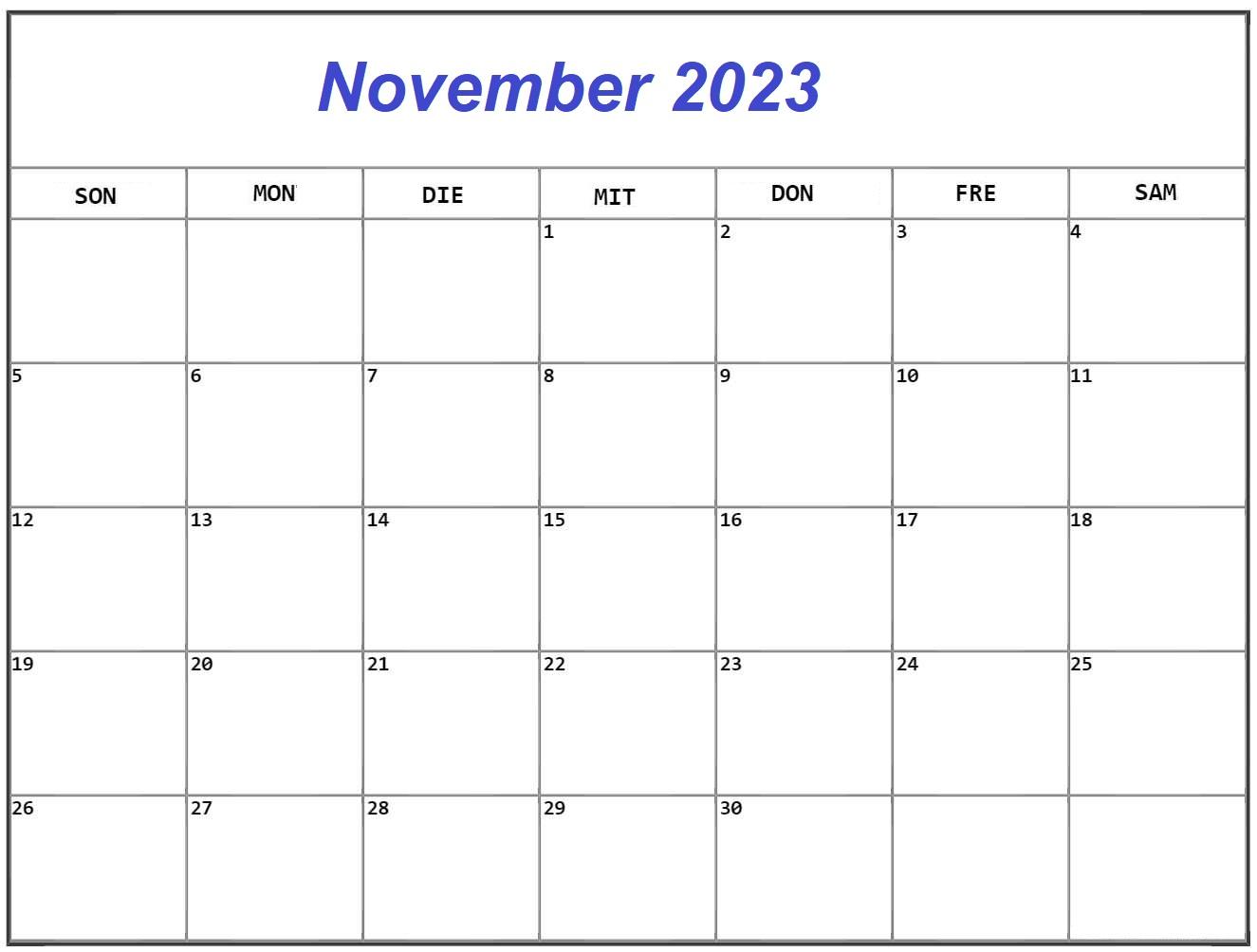 November 2023 Kalender Drucken