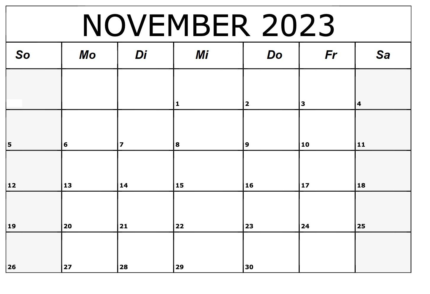 November 2023 Kalender Vorlage