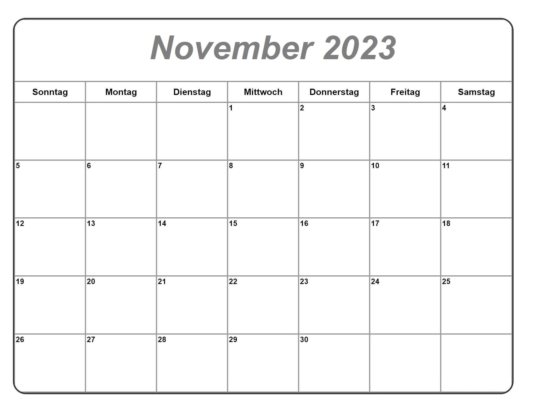 November 2023 Kalender