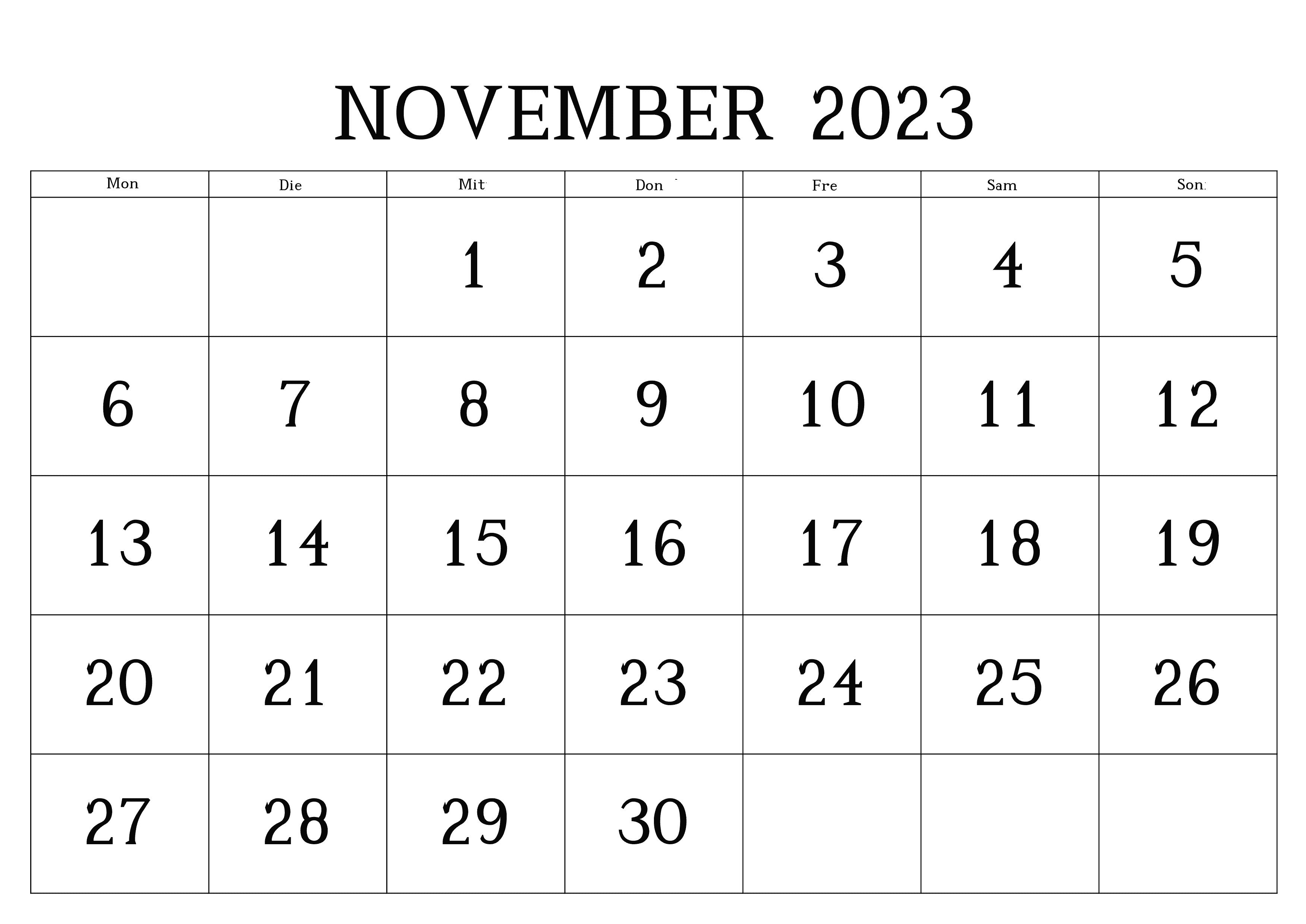 November Kalender 2023 Zum Ausdrucken