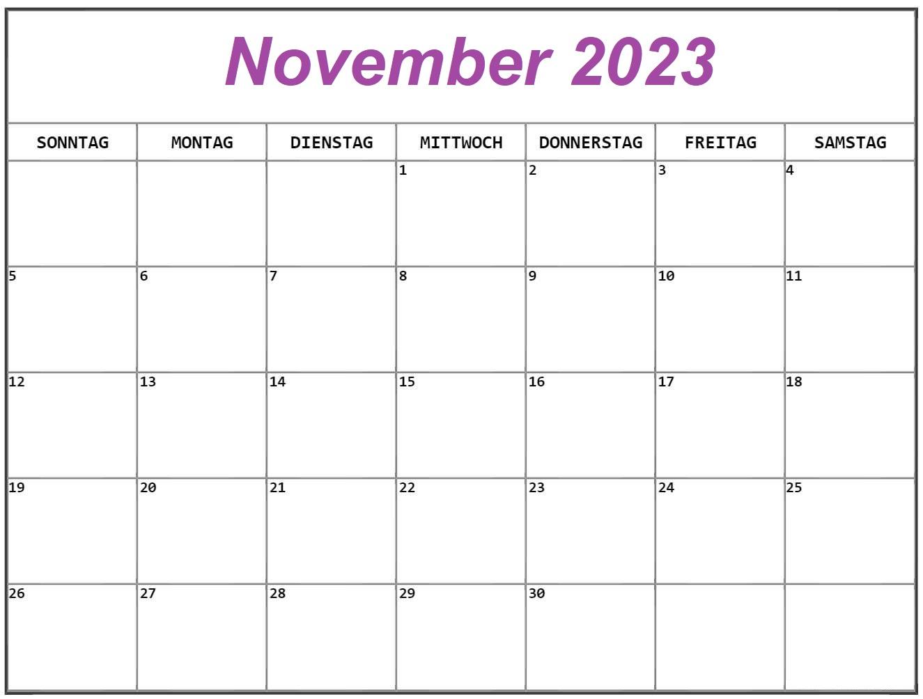 November Kalender 2023