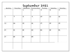 September 2021 Kalender Ausdrucken