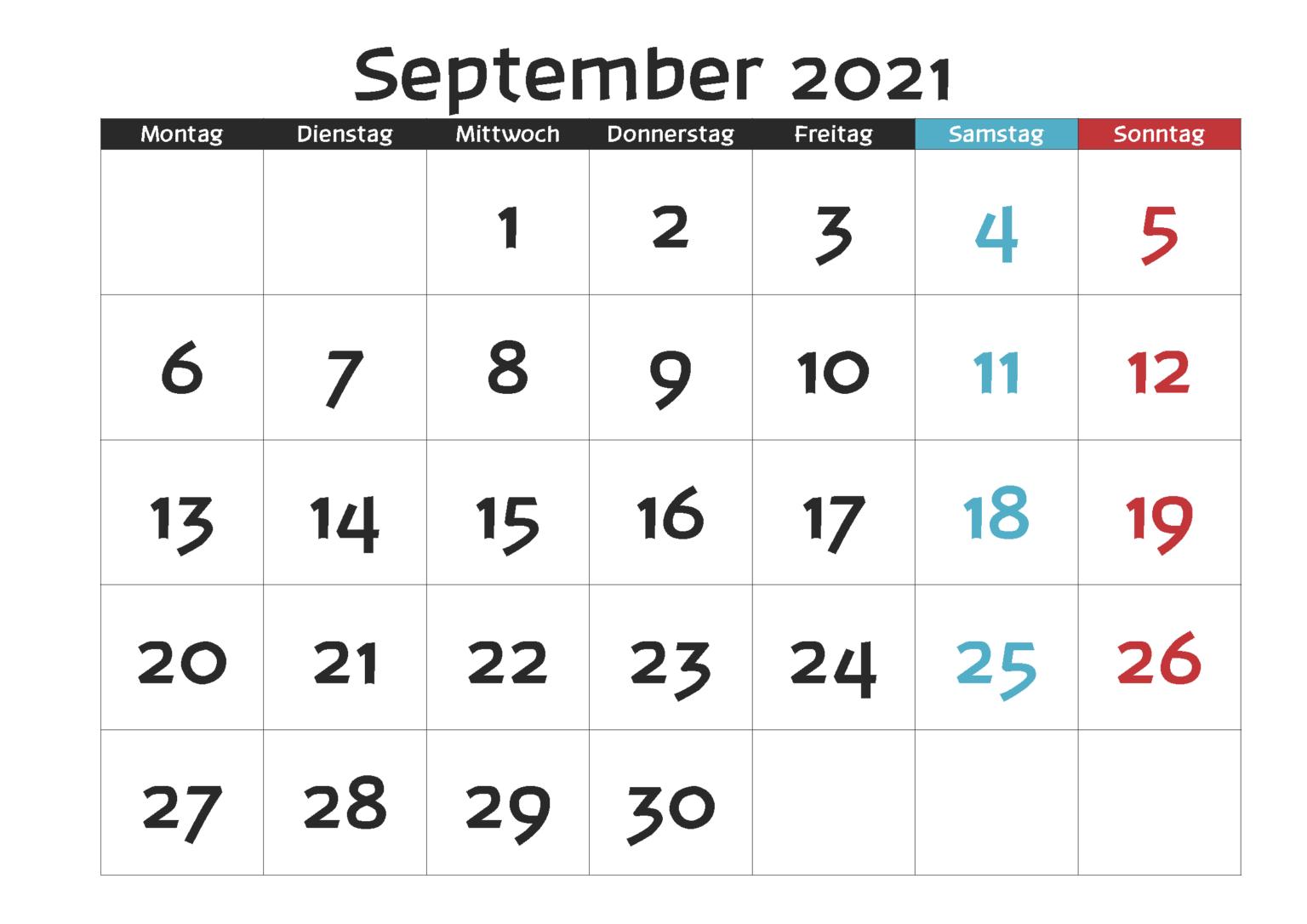 September 2021 Kalender Vorlage
