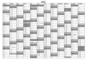 Ferien North Rhine-Westphalia 2020 Kalender Excel