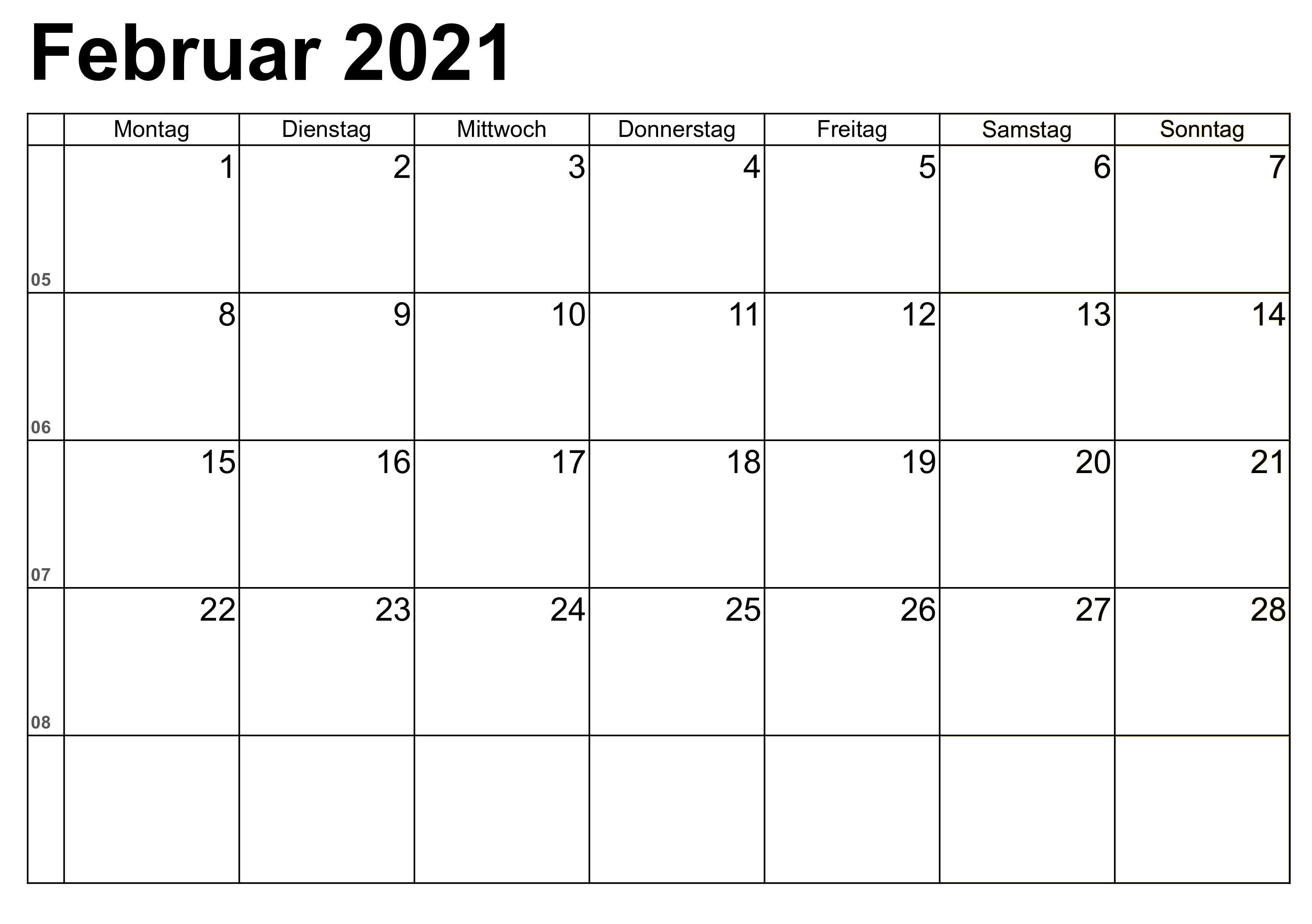 Februar Kalender 2021