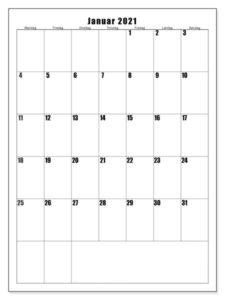 Kalender 2021 Januar Zum Ausdrucken