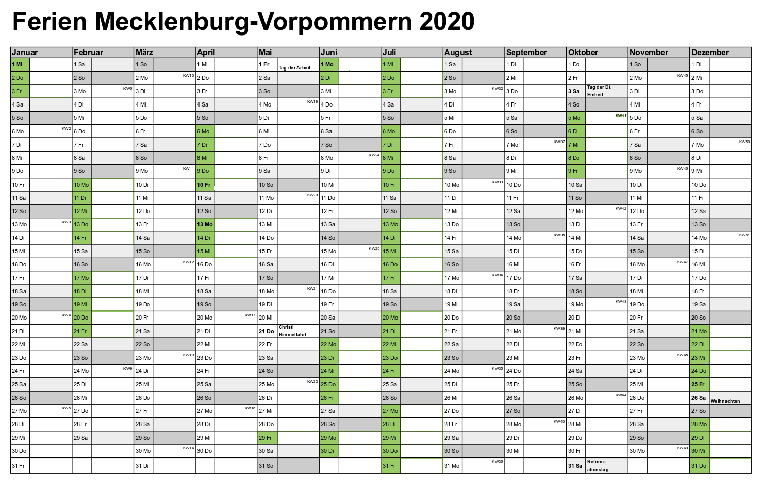 Sommerferien Mecklenburg-Vorpommern 2020 Kalender Excel Word