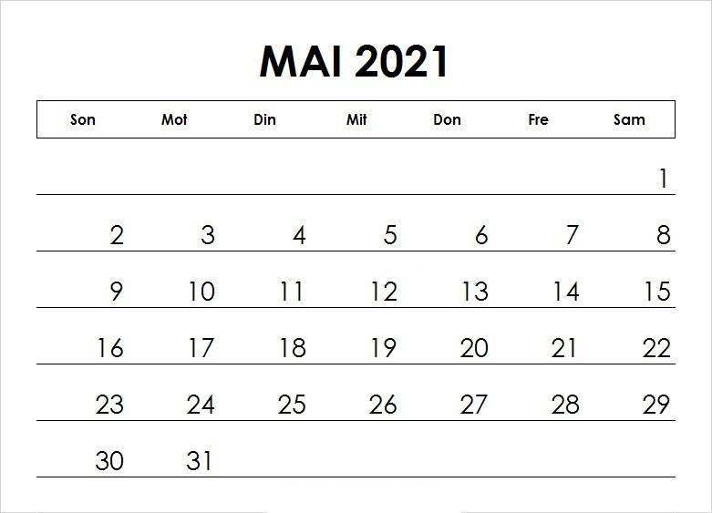 Kalender Mai 2021 Vorlage