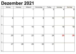 Dezember Kalender 2021