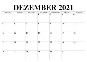 Dezember 2021 Feiertags Kalender