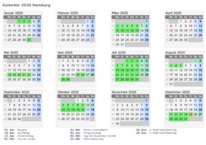 Sommerferien 2020 Hamburg Kalender PDF