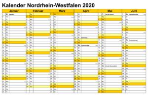 Sommerferien 2020 NRW Kalender PDF
