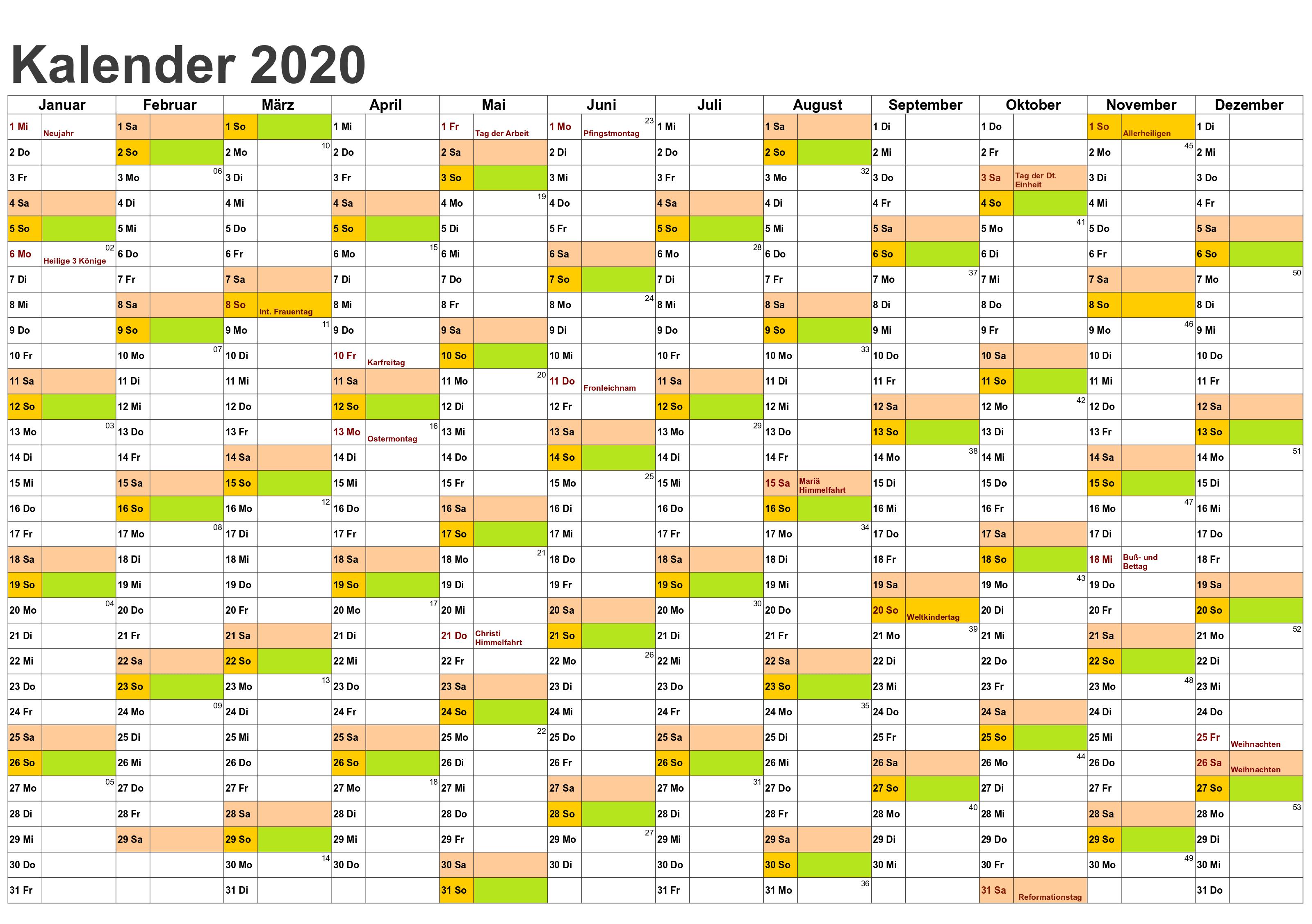 Sommerferien NRW 2020 Kalender Excel Word
