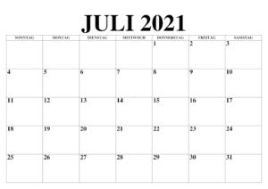 Juli 2021 Kalender