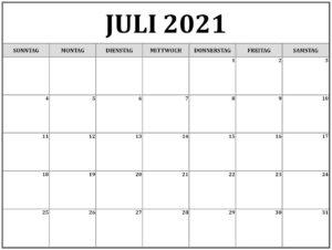 Kalender 2021 Juli Zum Ausdrucken