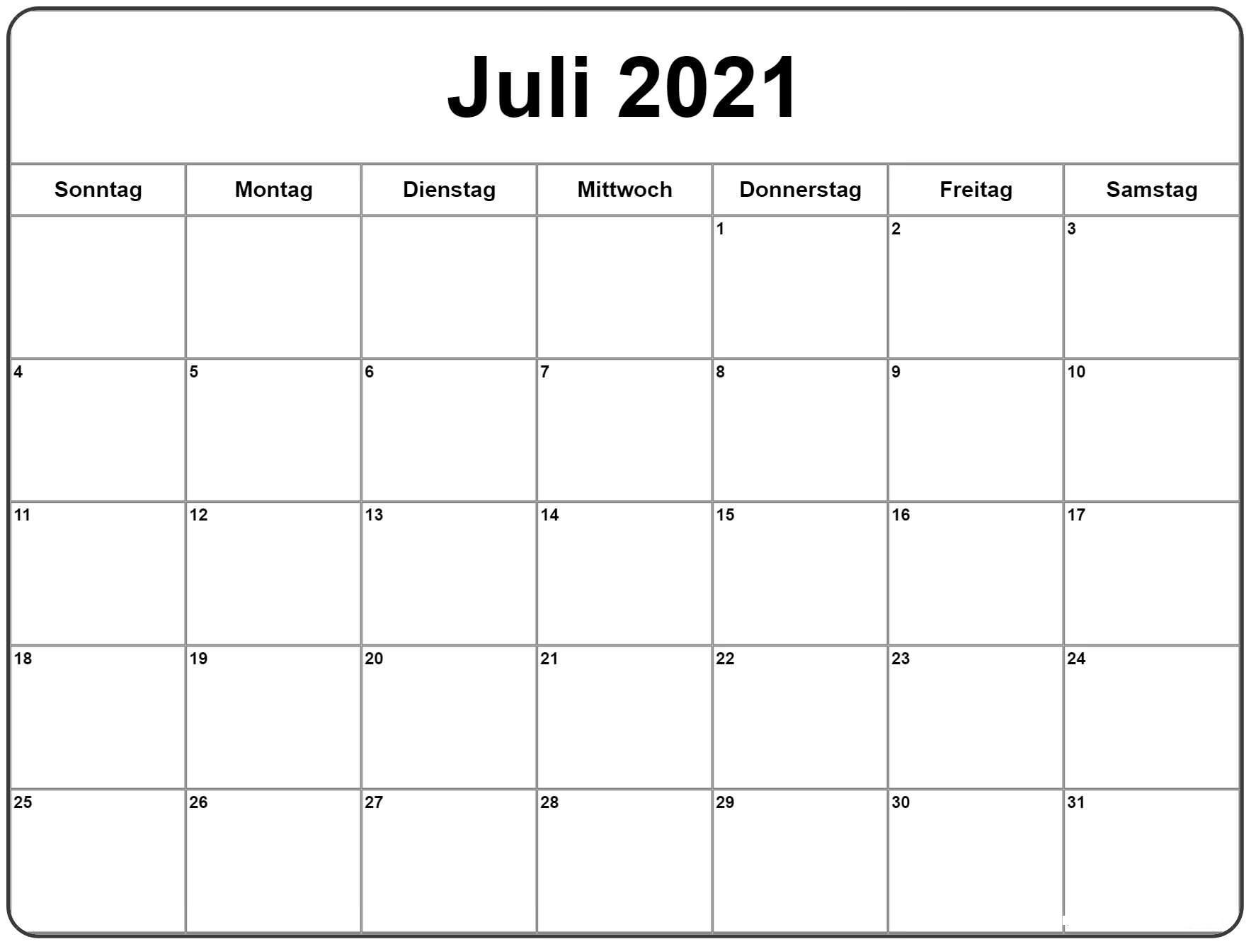 Juli Kalender 2021