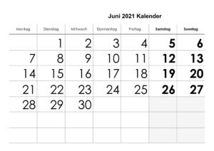Juni 2021 Feiertags Kalender
